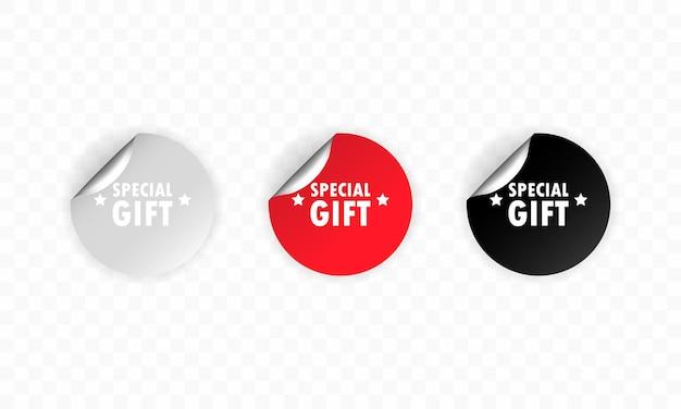 Icona regalo speciale. set di adesivi. sconto. set di etichette regalo speciali.
