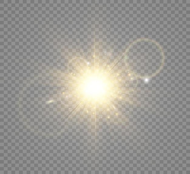 Effetto luce flash dell'obiettivo speciale il flash lampeggia raggi e illust del proiettore luce incandescente bianca