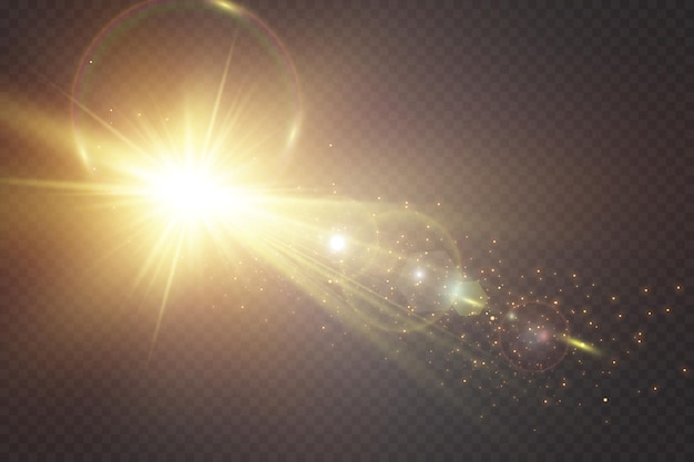 Speciale effetto luce di abbagliamento su sfondo trasparente