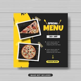 Banner di modello di post sui social media per la promozione della vendita di cibo menu speciale