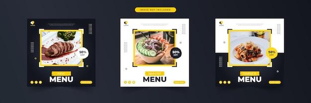 Menu speciale cibo promozione sui social media e raccolta di modelli di banner post design