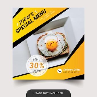 Modello di social media ristorante menu speciale