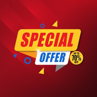Modello di progettazione di banner offerta speciale con sfondo rosso
