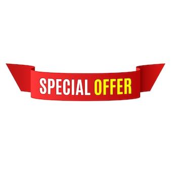 Banner di offerta speciale. fiocco rosso. illustrazione.