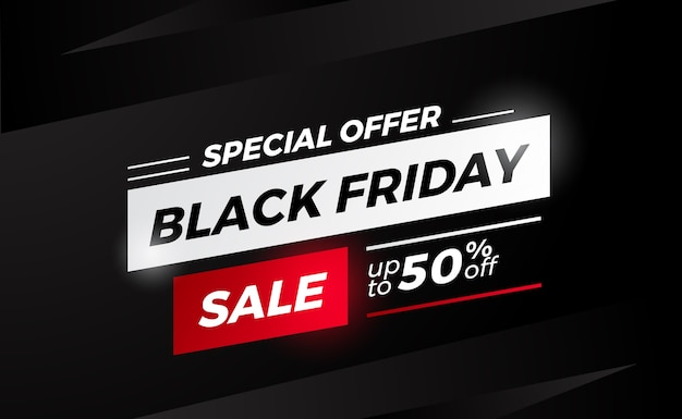 Offerta speciale venerdì nero sconto vendita banner modello di etichetta con sfondo nero per elegante negozio di vendita al dettaglio