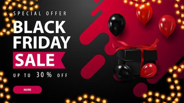 Offerta speciale, vendita del black friday, banner di sconto con elegante forma liquida tipografica, astratta su sfondo, palloncini rossi e neri, regali e pulsante.