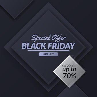 Offerta speciale venerdì nero vendita sconto promozione banner modello stagione con decorazione a motivo quadrato
