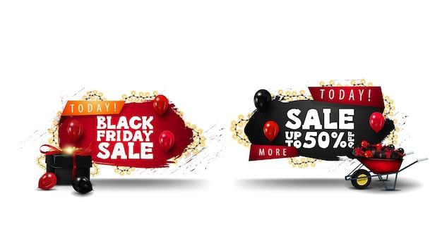 Offerta speciale, vendita del black friday, set di banner 3d scontati in forme geometriche con angoli frastagliati, ghirlande e icone 3d