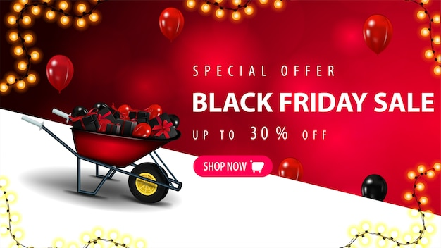 Offerta speciale, saldi del black friday, fino al 30% di sconto, banner sconto con sfondo rosso sfocato, striscia diagonale, palloncini rossi nell'aria, cornice di ghirlande e carriola con regali