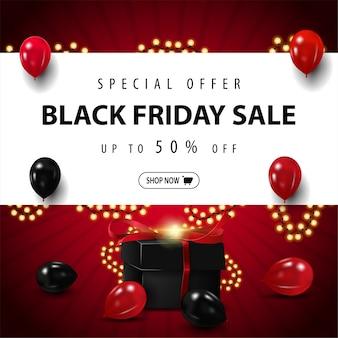 Offerta speciale, saldi del black friday, fino al 50% di sconto, banner sconto quadrato rosso con grande striscia bianca con offerta, palloncini rossi e neri, cornice ghirlanda e regalo nero