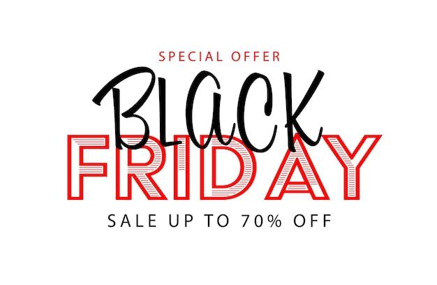 Offerta speciale per il black friday con sconti fino al 70%. poster pubblicitario, banner o badge adesivo con illustrazione vettoriale di lettere promozionali isolato su sfondo bianco