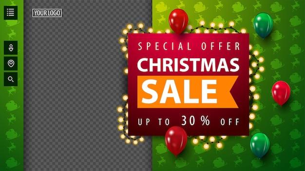 Offerta speciale, saldi natalizi, fino al 30% di sconto, modello vuoto sconto natale verde per la tua creatività con ghirlanda, spazio copia e palloncini volanti