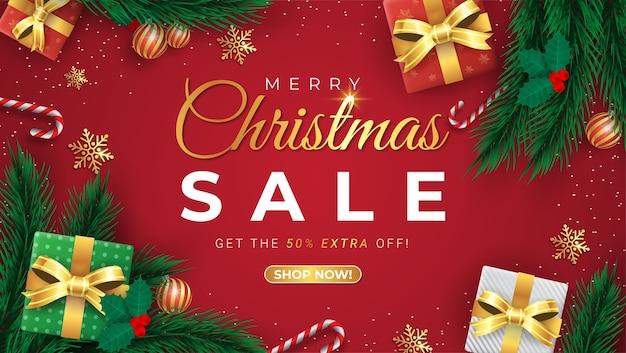 Offerta speciale, saldi natalizi, fino al 50% di sconto, bellissimo banner rosso di sconto