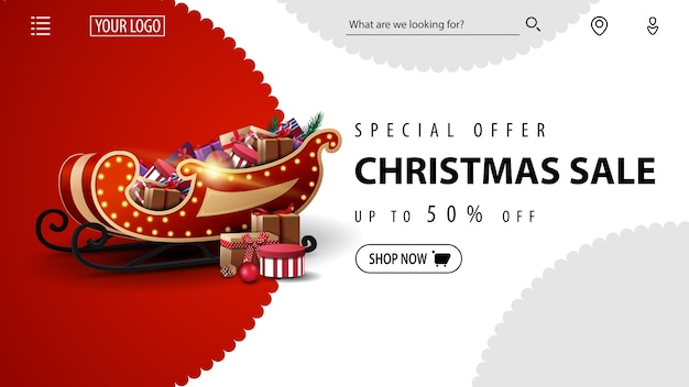 Offerta speciale, saldi natalizi, fino al 50% di sconto, banner di sconto rosso e bianco per il sito web con la slitta di babbo natale con regali