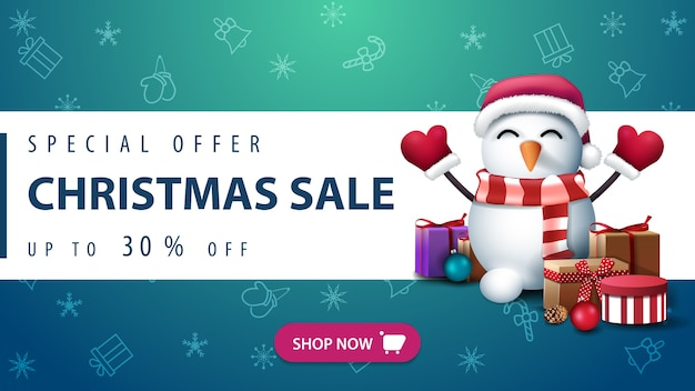 Offerta speciale, saldi natalizi, fino a 50 sconti, pupazzo di neve con cappello di babbo natale e regali