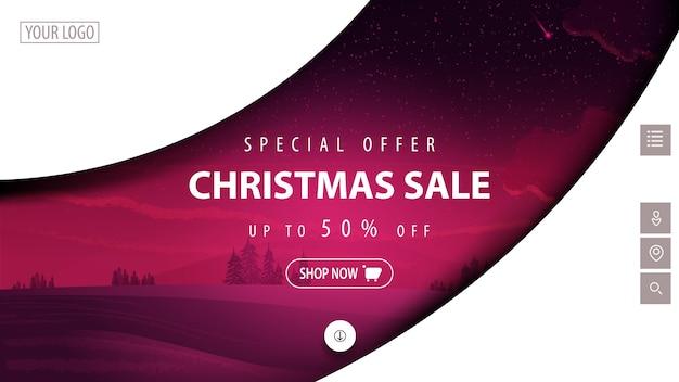 Offerta speciale, saldi natalizi, fino a 50 sconti, banner sconto moderno bianco e viola per sito web con forme astratte e paesaggio invernale colorato