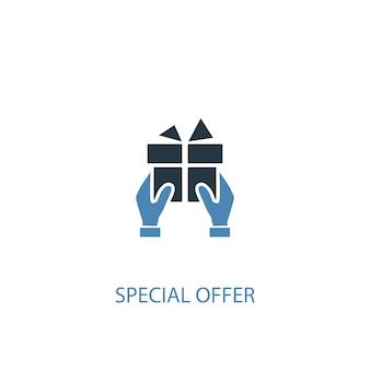Concetto di offerta speciale 2 icona colorata. illustrazione semplice dell'elemento blu. disegno di simbolo del concetto di offerta speciale. può essere utilizzato per ui/ux mobile e web