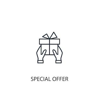 Icona della linea del concetto di offerta speciale. illustrazione semplice dell'elemento. disegno di simbolo di struttura di concetto di offerta speciale. può essere utilizzato per ui/ux mobile e web