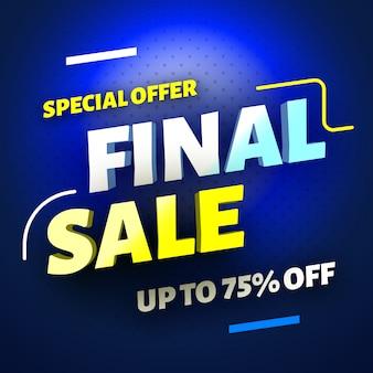 Banner di vendita finale di offerta speciale su sfondo blu,. illustrazione.
