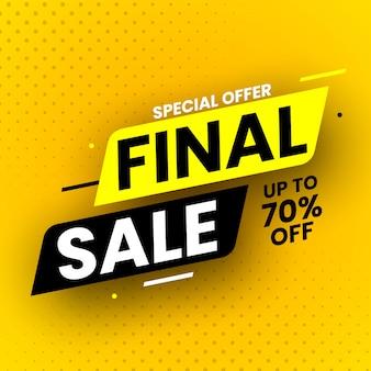 Banner di vendita finale di offerta speciale con ombra su sfondo giallo. illustrazione.