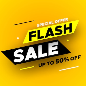 Offerta flash in vendita con ombra su sfondo giallo