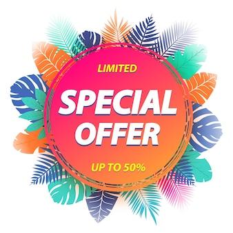 Etichetta di offerta speciale per la promozione con foglie tropicali. illustrazione