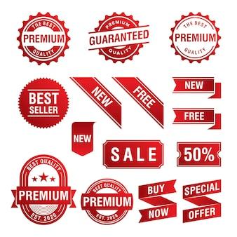 Set di tag e distintivi di promozione di offerte speciali