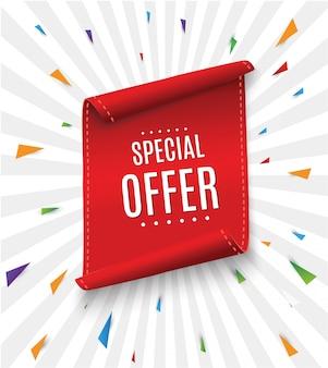 Offerta speciale nastro.rosso rosso. tag di vendita banner. sconto per offerte speciali sul mercato