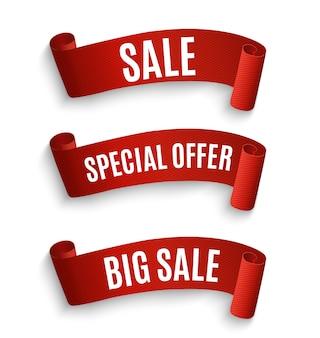 Nastro di offerta speciale. rotolo rosso. tag di vendita banner. sconto offerta speciale di mercato.