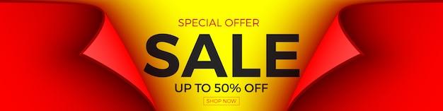Banner di vendita in offerta speciale, fino al 50% di sconto. nastro rosso con bordo curvo