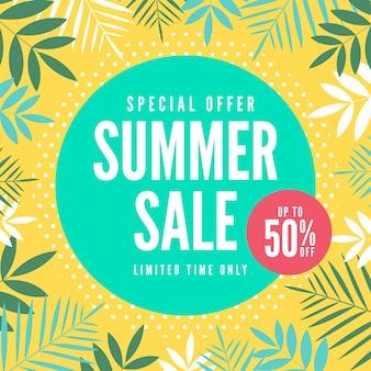 Banner di vendita estiva di offerta speciale. tropicale