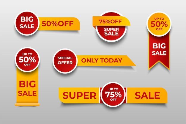 Raccolta di tag di offerta speciale, set di elementi banner per sito web e pubblicità.