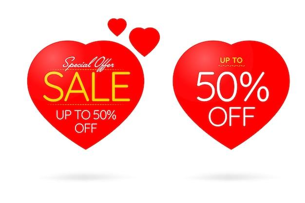 Offerta speciale fino al 50% di sconto sui saldi di san valentino.