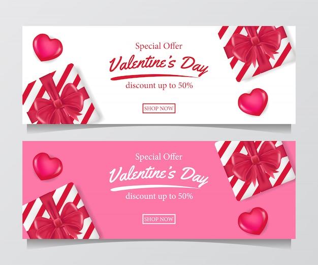 Modello di banner di giorno di san valentino offerta speciale