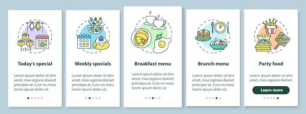 Offerte speciali onboarding schermata della pagina dell'app mobile con concetti