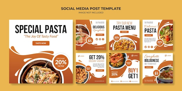 Modello di post instagram social media pasta speciale