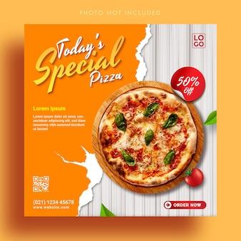 Modello di banner pubblicitario di post di instagram di social media di promozione speciale della pizza