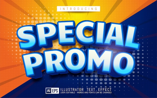 Promo speciale effetto testo stile di testo 3d modificabile adatto per la promozione di banner