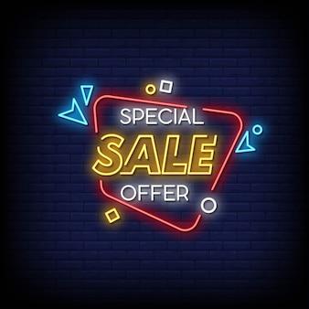 Testo di stile di insegne al neon di offerta speciale di vendita