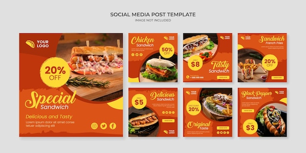 Modello di post instagram social media sandwich speciale