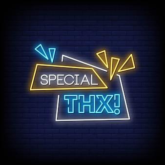 Ringraziamenti speciali insegne al neon in stile testo
