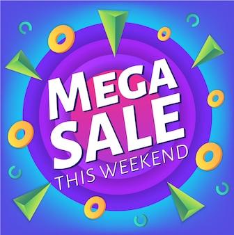 Speciale weekend mega vendita pubblicità banner web o poster, modello di cartello con elementi liquidi astratti colorati