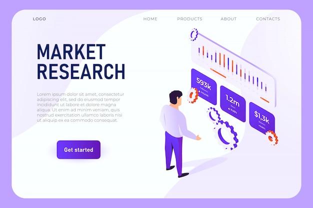 Lo specialista analizza i grafici delle vendite, i grafici dei follower, il diagramma di crescita del reddito. concetto della pagina web di ricerca di mercato, vettore