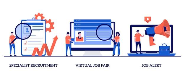 Reclutamento di specialisti, fiera del lavoro virtuale, concetto di allerta lavoro con persone minuscole