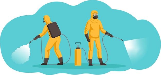Specialisti di sanificazione, disinfezione, disinfestazione. i lavoratori usano spray a pompa.