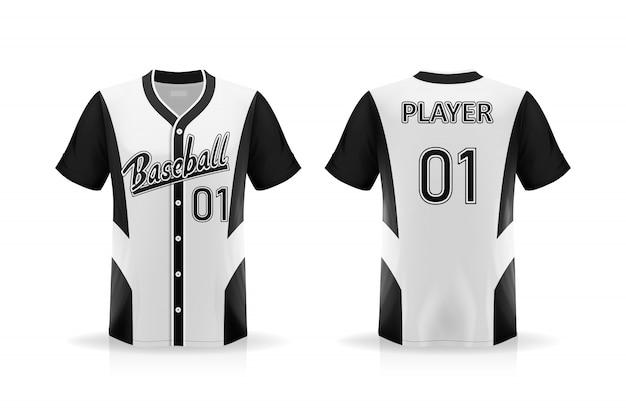 Descrizione maglietta da baseball isolata su sfondo bianco, spazio vuoto sulla maglietta per e posizionando elementi o testo sulla maglietta, spazio vuoto per la stampa, illustrazione