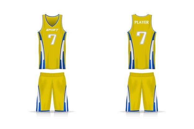 Specifiche modello cesto jersey. t-shirt sportiva con scollo a v uniforme. disegno dell'illustrazione