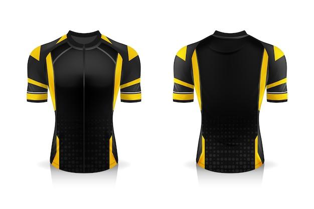 Specifica modello di maglia da ciclismo. mock up t-shirt sportiva girocollo uniforme
