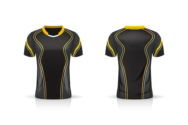 Specifiche soccer sport, esport gaming t shirt jersey template.
