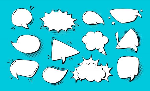 Nuvola di esplosione impostata fumetto pop art fumetto